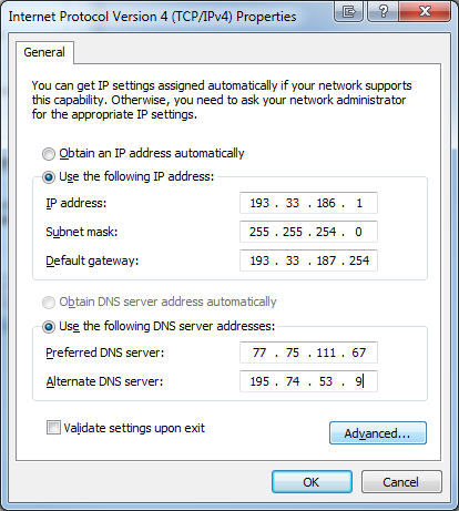 Enter Primary IP Address, Subnet gateway and DNS Servers