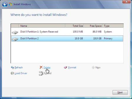 Delete Primary Partition in Windows 2008 Setup
