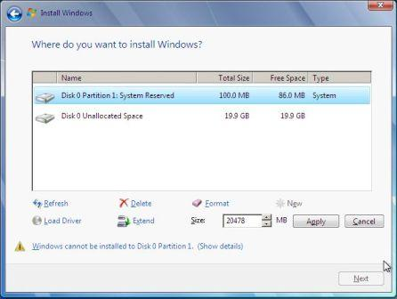 Extend Partiton Size in Windows 2008 Setup